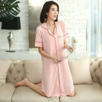 Nightdress Xingzhiting Black gray smoke pink ocean green M L XL XXXL Simplicity Short sleeve Leisure home Middle-skirt summer Solid color youth Small lapel modal  printing Modal fabric 6375124987637512499092550981_ forty Spring 2021 Modal fiber (modal) 95% polyurethane elastic fiber (spandex) 5%