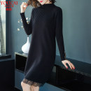 Dress Winter of 2018 Black white apricot M L XL XXL XXXL 4XL S 5XL Mid length dress singleton  Long sleeves commute Half high collar Loose waist Solid color Socket Princess Dress other Others 30-34 years old You CAI Korean version UC823 More than 95% other other Other 100%