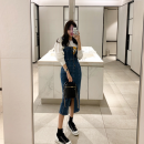 Dress Autumn 2020 blue S,M,L Mid length dress singleton  Sleeveless commute High waist Solid color Pencil skirt camisole 25-29 years old Type H Korean version pocket