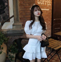 Dress Summer 2020 White, red S, M Short skirt singleton  commute Crew neck High waist Solid color A-line skirt puff sleeve 25-29 years old Type A Korean version Lotus leaf edge 81% (inclusive) - 90% (inclusive) cotton