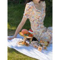Dress Summer 2020 Monet orange flower, Monet purple flower S, M Middle-skirt singleton  Short sleeve Sweet V-neck High waist Decor Socket A-line skirt routine Others Type A 91% (inclusive) - 95% (inclusive) polyester fiber