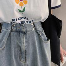 Women's large Spring 2021 Denim blue M (90-100 kg), l (100-120 kg), XL (120-140 kg), 2XL (140-160 kg), 3XL (160-180 kg), 4XL (180-200 kg recommended) Jeans commute Solid color Korean version Denim 18-24 years old pocket trousers