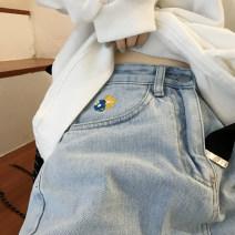 Women's large Summer 2020, spring 2020 wathet S (below 90 kg), m (90-100 kg), l (100-120 kg), XL (120-140 kg), 2XL (140-160 kg), 3XL (160-180 kg), 4XL (180-200 kg recommended) Jeans commute Solid color Korean version Denim 18-24 years old Embroidery trousers