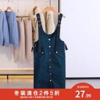 Dress Winter 2020 blackish green S,M,L Mid length dress singleton  Sleeveless Crew neck Socket Type H Other / other VZP708L026 51% (inclusive) - 70% (inclusive) cotton