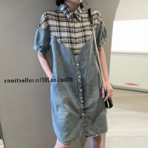 Dress Spring 2021 blue S,M,L,XL Middle-skirt singleton  Short sleeve street Polo collar Loose waist lattice Socket A-line skirt routine Others 25-29 years old Type A Splicing 71% (inclusive) - 80% (inclusive) Denim cotton Europe and America
