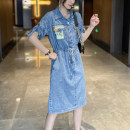 Dress Spring 2021 blue S,M,L,XL Mid length dress singleton  Short sleeve street Polo collar Loose waist Solid color Socket A-line skirt routine Others 25-29 years old Type A Tape, tie AAL21040206 71% (inclusive) - 80% (inclusive) Denim polyester fiber Europe and America