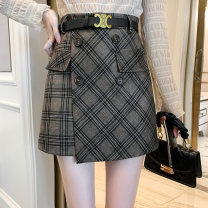 skirt Winter 2020 S M L XL Brown grey Short skirt Versatile High waist A-line skirt lattice Type A 18-24 years old More than 95% Wool Good core other Button Other 100% Pure e-commerce (online only)
