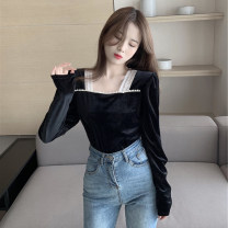 shirt black S M L XL Winter 2020 other 96% and above Long sleeves commute Short style (40cm < length ≤ 50cm) square neck Socket puff sleeve Solid color 18-24 years old Self cultivation Good core Button Other 100% Pure e-commerce (online only)