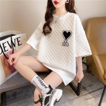 Women's large Spring 2021 White black Large XL Large XXL large L T-shirt singleton  commute easy thin Socket Short sleeve Korean version Crew neck Medium length cotton XDHK37 Good core 18-24 years old Other 100% Pure e-commerce (online only)