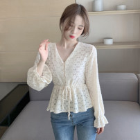 shirt Off white S M L XL Winter 2020 other 96% and above Long sleeves commute Regular V-neck Socket pagoda sleeve Solid color 18-24 years old Self cultivation Good core Korean version DHX289 Button Other 100% Pure e-commerce (online only)