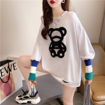 Women's large Spring 2021 white Large XL Large XXL large L Sweater / sweater singleton  commute easy thin Socket Long sleeves Animal design Korean version Crew neck routine cotton XDHK55 Good core 18-24 years old Other 100% Pure e-commerce (online only)