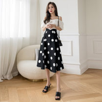 skirt Summer 2021 S,M,L,XL White, black longuette Retro High waist A-line skirt Decor Type A 18-24 years old More than 95% other Other / other other Splicing