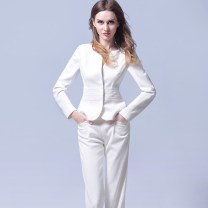 Professional pants suit Black (dress + pants), white (dress + skirt), white (dress + pants), black (dress + skirt) XL,S,M,L Spring 2020, autumn 2020 loose coat Long sleeves 192121+184006+141021 trousers URBANQUEEN 25-35 years old 96% and above polyester fiber