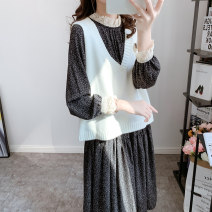Dress Autumn 2020 Black (single skirt), black + vest (two-piece set), white (single vest) Average size Mid length dress Two piece set Long sleeves commute Crew neck Loose waist other Socket Big swing other Others 18-24 years old Type H Korean version Stitching, buttons, lace Chiffon polyester fiber