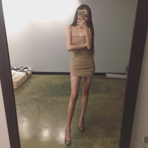 Dress Spring 2017 Naked coffee One size fits all Short skirt singleton  Sleeveless commute High waist Solid color zipper One pace skirt 18-24 years old Korean version Mesh, zipper