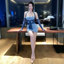 Dress Winter 2020 blue S,M,L Short skirt singleton  Long sleeves street High waist Solid color Socket routine Breast wrapping 18-24 years old Europe and America