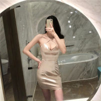 Dress Winter 2020 Champagne S,M,L Short skirt singleton  Sleeveless V-neck High waist Solid color One pace skirt 18-24 years old 31% (inclusive) - 50% (inclusive)