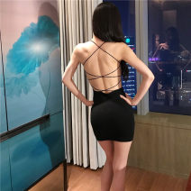 Dress Summer 2020 black S,M,L Short skirt singleton  Sleeveless street High waist Solid color Socket One pace skirt camisole 18-24 years old backless 31% (inclusive) - 50% (inclusive) Europe and America