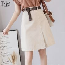 skirt Summer of 2019 S,M,L,XL,2XL Apricot, black Short skirt Versatile High waist A-line skirt Solid color Type A 25-29 years old XMXQ0011207 More than 95% Other / other other Pleating, folding, resin fixation, bright line decoration, splicing, 3D