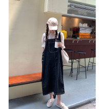 Dress Spring 2021 Dark blue, charcoal black Average size longuette singleton  Sleeveless commute other Loose waist Solid color Socket A-line skirt other straps 18-24 years old Type A Wu 77 Korean version Pockets, straps, buttons 71% (inclusive) - 80% (inclusive) Denim cotton
