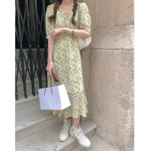 Dress Spring 2021 Yellow, yellow spot (1-3 days) hair Average size Mid length dress singleton  elbow sleeve commute V-neck High waist Broken flowers zipper A-line skirt routine Others Type A Wu 77 Korean version Lace, chain, fold, lace, print 81% (inclusive) - 90% (inclusive) Chiffon polyester fiber