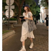 Dress Spring 2021 white S, M Mid length dress singleton  Short sleeve commute V-neck High waist Solid color Socket A-line skirt puff sleeve Others 18-24 years old Type A Wu 77 Korean version Ruffles, pleats, lace up, stitching More than 95% other cotton
