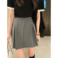 skirt Spring 2021 S,M,L Black, grey, apricot, black spot (1-3 days), Grey Spot (1-3 days), apricot spot (1-3 days) Short skirt commute High waist A-line skirt Solid color Type A 81% (inclusive) - 90% (inclusive) Chiffon Wu 77 polyester fiber Zipper, stitching Korean version