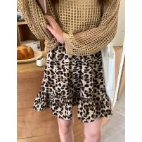 skirt Spring 2021 Average size Grey, brown Short skirt commute High waist A-line skirt Leopard Print Type A 91% (inclusive) - 95% (inclusive) Chiffon Wu 77 cotton Lotus leaf edge Korean version