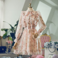 Dress Autumn of 2019 Pink Long sleeve, pink short sleeve, short sleeve long, long sleeve long XL,S,L,M Short skirt singleton  Long sleeves commute High waist Broken flowers zipper Type A Korean version Chiffon