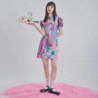 Dress Summer 2020 Decor S,M,L Middle-skirt singleton  Short sleeve commute Crew neck High waist Hand painted zipper A-line skirt puff sleeve Others Type A U are / ear literature Hollow out, chain, asymmetry, printing D66TN2914 More than 95% Crepe de Chine polyester fiber