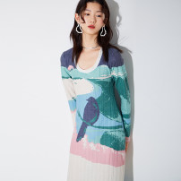 Dress Spring 2021 Decor S,M,L longuette singleton  Long sleeves commute Crew neck Loose waist Decor Socket A-line skirt routine Others 25-29 years old Type H U are / ear literature Stickers, lace, prints D68TN0913 81% (inclusive) - 90% (inclusive) knitting polyester fiber
