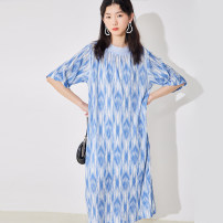 Dress Summer 2021 Blue white, blue white (expected to ship by the end of April) S, M longuette singleton  Short sleeve commute Crew neck Loose waist Decor Socket other routine Others 18-24 years old Type H U are / ear literature Fold, print D68TN1914 More than 95% Crepe de Chine polyester fiber