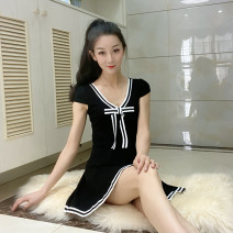 Dress Summer 2016 White, red, black, pink Average size Mid length dress singleton  Short sleeve Sweet V-neck middle-waisted Solid color Socket Princess Dress routine 18-24 years old Type A bow cotton princess
