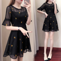 Women's large Summer 2020 black Dress singleton  commute easy moderate Socket elbow sleeve Korean version Crew neck Medium length Polyester, polyester Three dimensional cutting pagoda sleeve 25-29 years old Gouhua hollow 91% (inclusive) - 95% (inclusive) Medium length Princess Dress Hollowing out