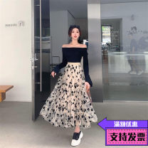Dress Autumn 2020 Black top + mesh skirt S,M,L Short skirt Two piece set Long sleeves commute One word collar High waist Solid color Socket A-line skirt routine 25-29 years old Type H Korean version Chiffon