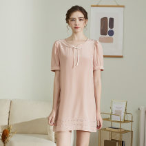 Nightdress True brocade White, purple, pink 155(S),160(M),165(L),170(XL) Simplicity Short sleeve Leisure home Middle-skirt summer Solid color youth Crew neck silk More than 95% silk D031C 200g and below