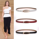 Belt / belt / chain Double skin leather female belt Versatile Single loop Middle aged youth Pin buckle Geometric pattern Glossy surface 1.4cm alloy