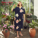 Nightdress Yating Yawen Dark green, dark blue 160/M,165/L,170/XL,175/XXL Simplicity Short sleeve pajamas longuette summer Plants and flowers middle age V-neck cotton printing More than 95% pure cotton 220g