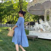 Dress Blue, black M,L,XL Korean version Short sleeve Medium length summer V-neck Solid color Cotton and hemp