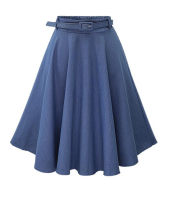 skirt Summer 2021 Average size Light blue, dark blue Mid length dress fresh High waist A-line skirt Solid color Type A 18-24 years old 51% (inclusive) - 70% (inclusive) Denim other