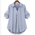 Women's large Summer 2020 Light gray, light blue, white Large L, large XL, large 2XL, large 3XL, large 4XL shirt singleton  street easy thin Socket elbow sleeve other Polo collar routine other fold 25-29 years old 71% (inclusive) - 80% (inclusive) Europe and America
