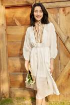 Dress Summer 2021 white 0,1,2 Mid length dress Two piece set Long sleeves street stand collar Loose waist Solid color Socket other routine Others 30-34 years old Type H Embroidery, bandage More than 95% other hemp Europe and America