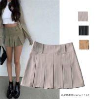 skirt Summer 2021 S,M,L Black, beige, khaki Short skirt street High waist Pleated skirt Type A 715- 71% (inclusive) - 80% (inclusive) Europe and America