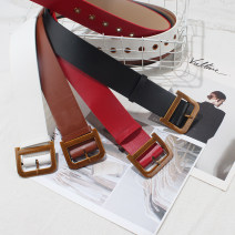 Belt / belt / chain Pu (artificial leather) Black, white, red, camel female Waistband leisure time Single loop Pin buckle letter alloy