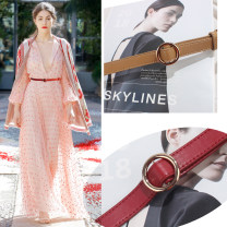 Belt / belt / chain Pu (artificial leather) Black, white, apricot, dark red female belt Sweet Single loop Youth, youth, middle age Smooth button Round buckle soft surface 2cm alloy alone