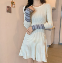Dress Winter 2020 Off white, red, black Average size Mid length dress singleton  Long sleeves commute V-neck High waist Solid color Socket A-line skirt routine Others 18-24 years old Type A Korean version l1206 31% (inclusive) - 50% (inclusive) other polyester fiber
