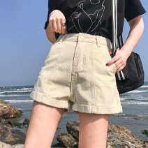 Jeans Summer of 2018 Black, beige S,M,L,XL shorts High waist Wide legged trousers routine 18-24 years old Thin denim 91% (inclusive) - 95% (inclusive)
