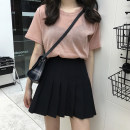 skirt Summer of 2019 S, M White, gray, black Short skirt commute High waist Pleated skirt Solid color Type A 18-24 years old 91% (inclusive) - 95% (inclusive) Other / other polyester fiber fold Korean version