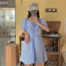 Dress Summer 2021 blue Average size Middle-skirt singleton  Short sleeve commute V-neck High waist Solid color Socket Big swing puff sleeve Others 18-24 years old Type H Korean version J0325 31% (inclusive) - 50% (inclusive) polyester fiber