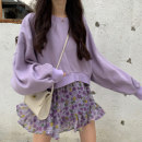 skirt Autumn of 2019 Average size Purple sweater, floral skirt Short skirt commute High waist Ruffle Skirt Decor Type A 18-24 years old 30% and below other other Lotus leaf edge Korean version